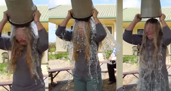 Katrina Jeffery doing the Ice Bucket Challenge